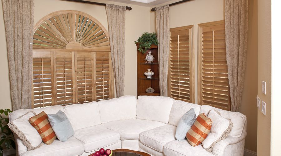 Sunburst Arch Ovation Wood Shutters In Boston Living Room