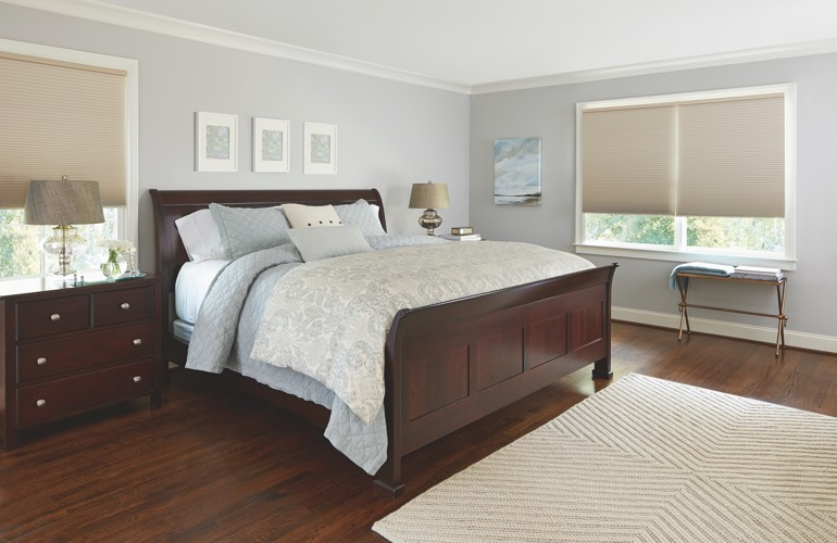 Beige shades in a Boston bedroom.