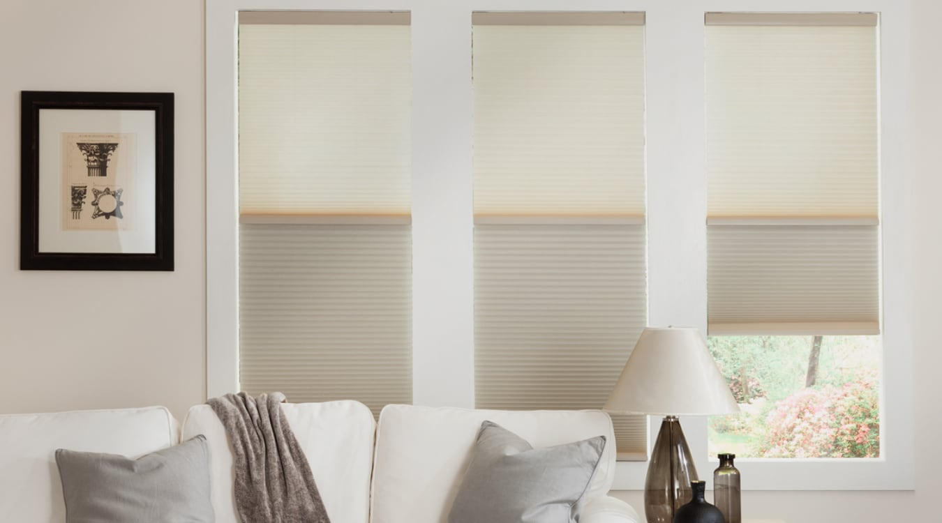 Cellular shades in a Boston living room