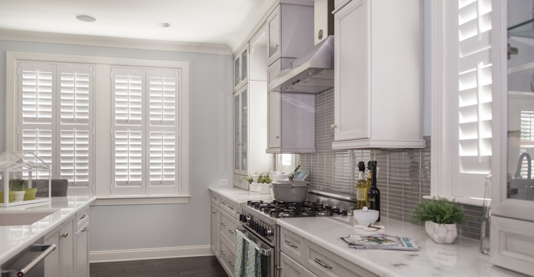 Boston kitchen white shutters