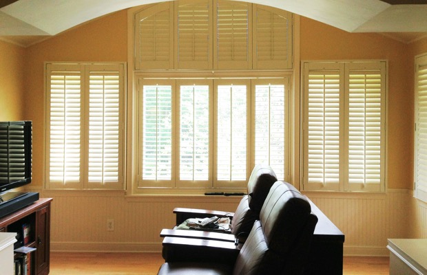 Boston plantation shutters in home theater