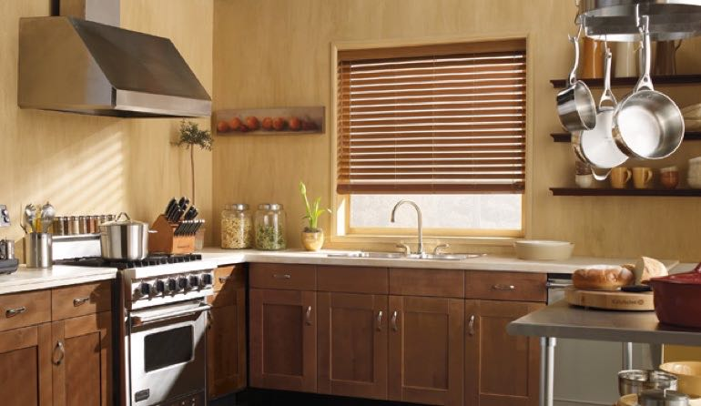 Massachusetts faux wood blinds kitchen