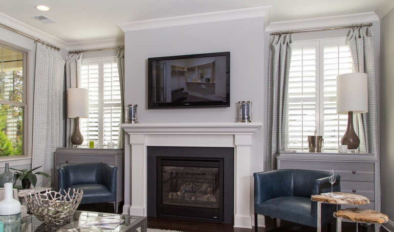 Boston mantle with white shutters.