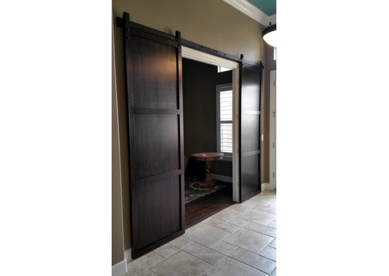 Dark brown home office sliding barn door 🚪