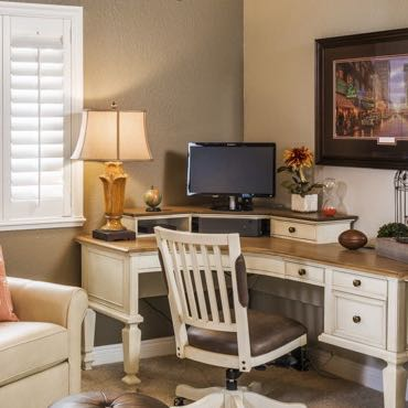Boston home office plantation shutters.