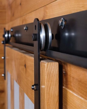 J track for sliding barn door shutters with metal wheels