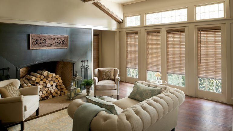Boston fireplace with blinds