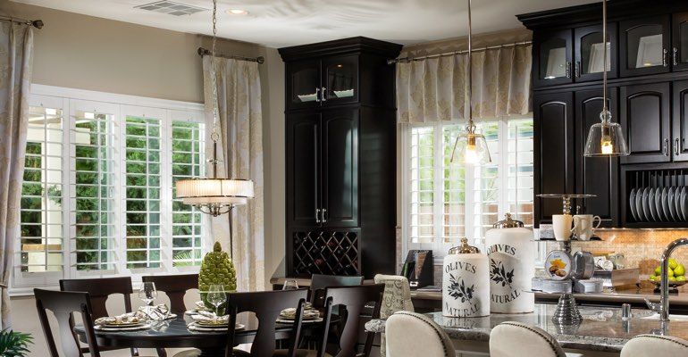 Boston kitchen dining room with plantation shutters.