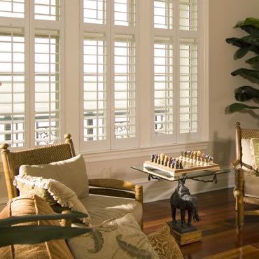 Boston living room polywood shutters.