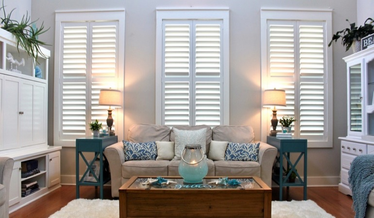 Boston modern home with plantation shutters