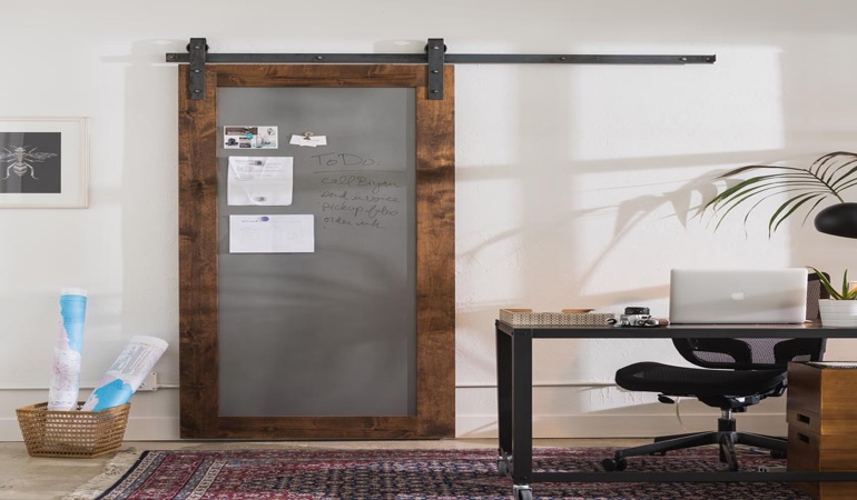 Boston home office barn door