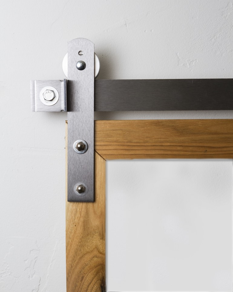 Metal mini ultra modern hanger on sliding barn door