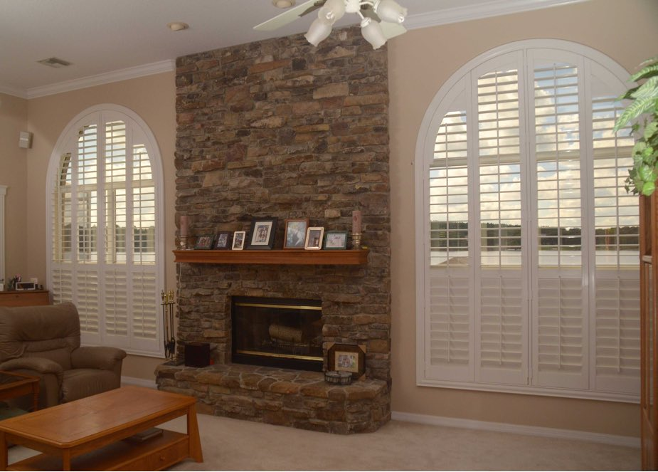 Arched shutters in a Boston family room