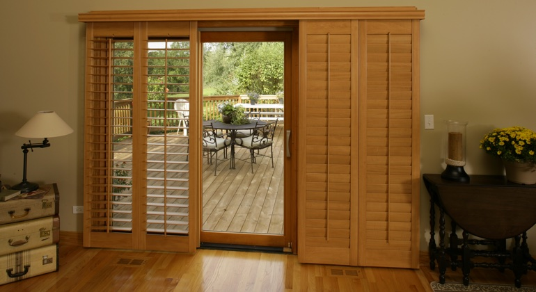 Boston wood shutter sliding door