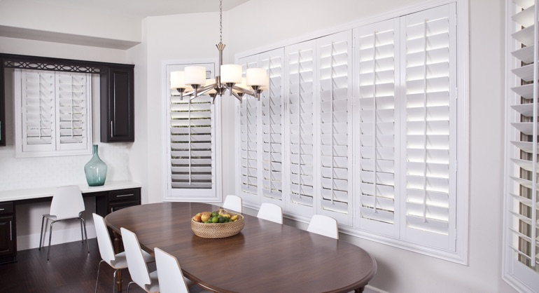 classic shutters in Boston dining room