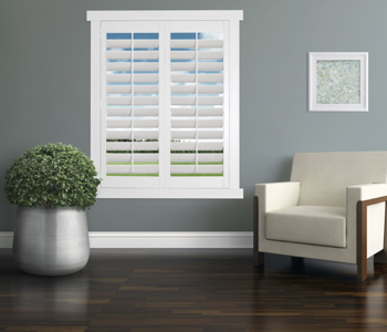 Polywood Shutters in Boston living room