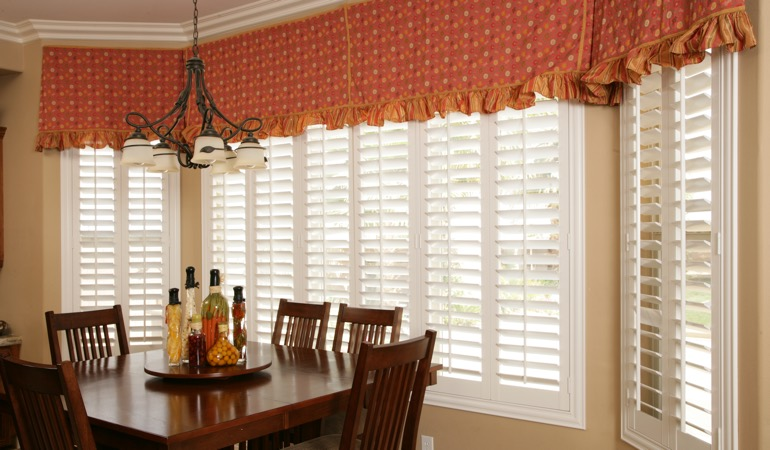 Plantation shutters in Boston dining room.