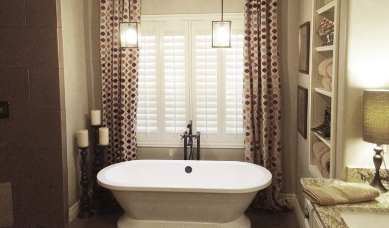 Polywood Shutters in Boston Bathroom