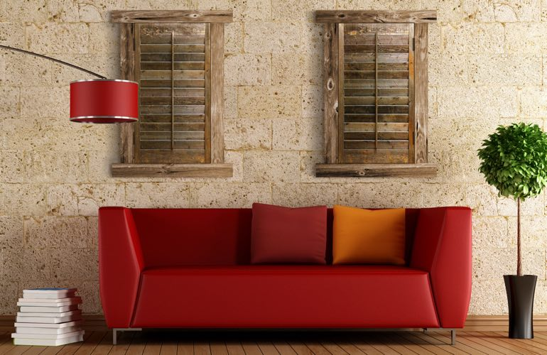 Reclaimed Wood Shutters In A Boston Living Room