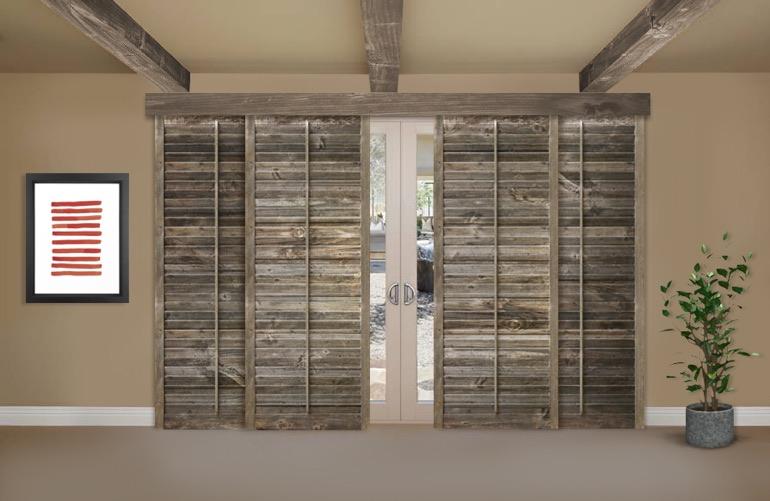 Reclaimed Wood Shutters On A Sliding Glass Door In Boston - Reclaimed Wood Shutters For Sale Sunburst Shutters Boston, MA