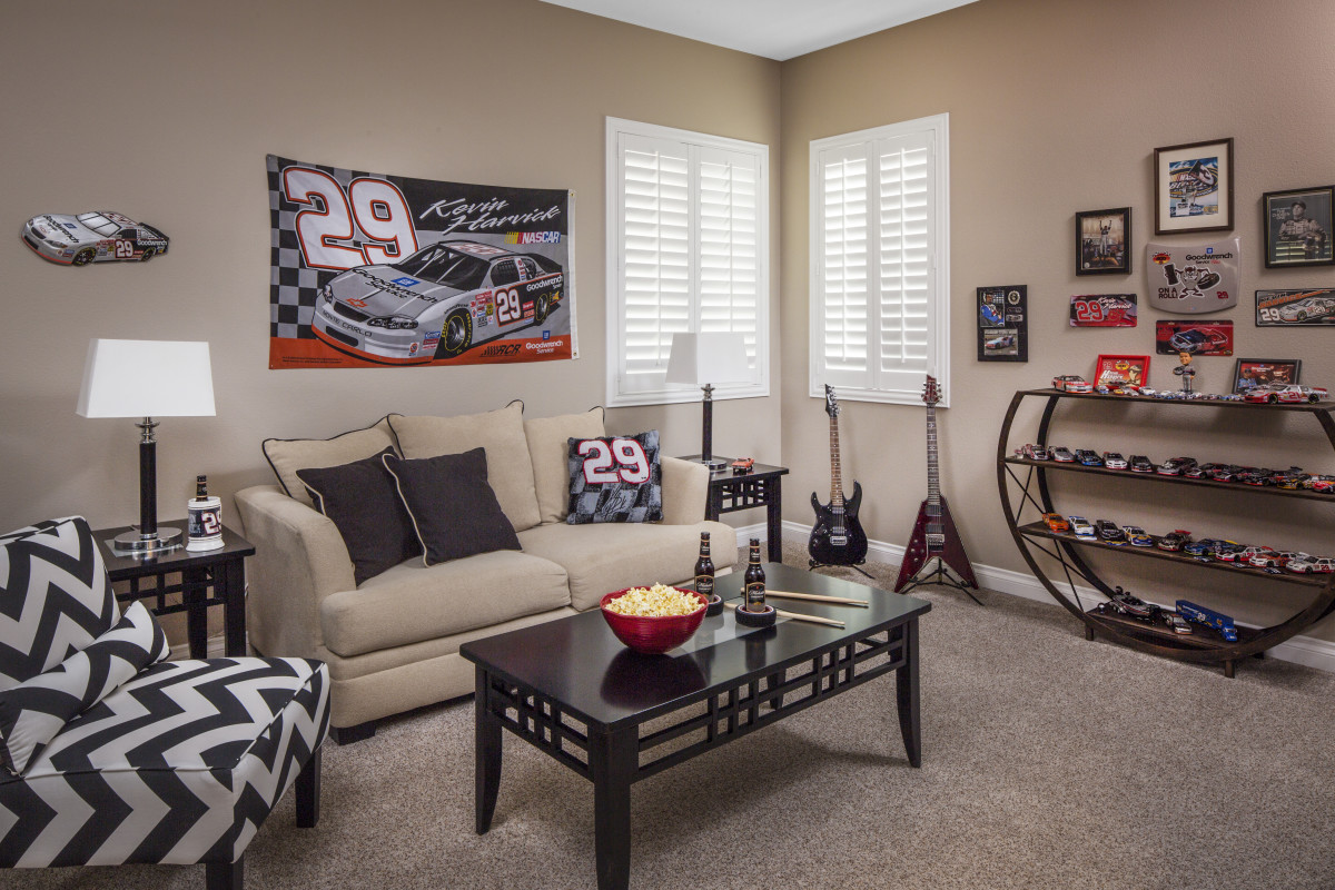 Boston man cave with shutters