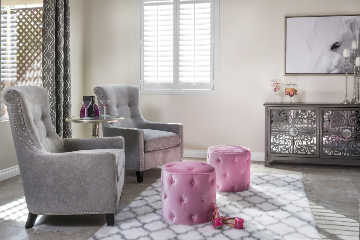 Boston pink living room with shutters