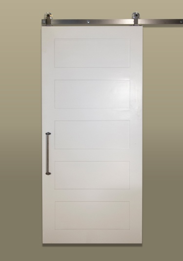 White five panel sliding barn door in the rustic line