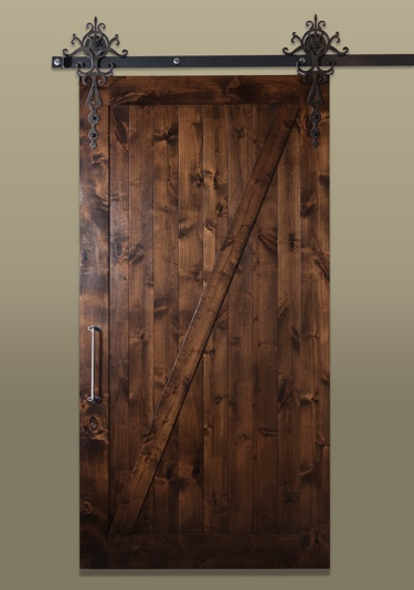 Sliding barn door in the rustic style