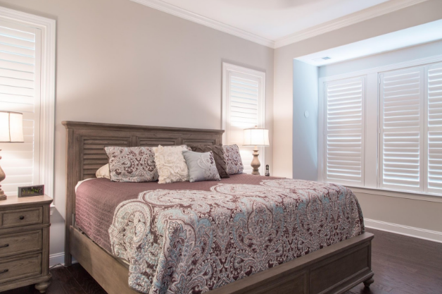 Boston bedroom with light block shutters
