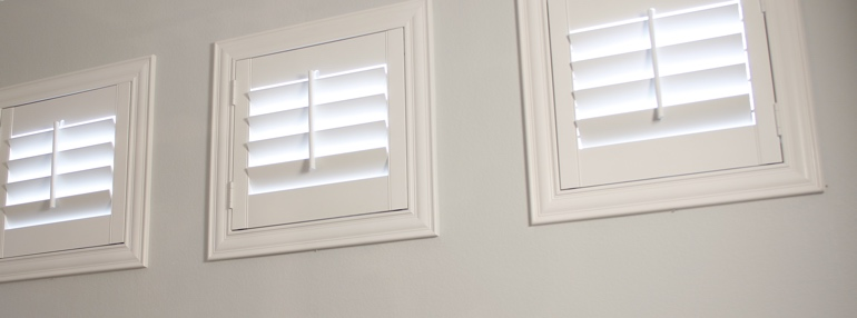Square Windows in a Boston Garage with Plantation Shutters