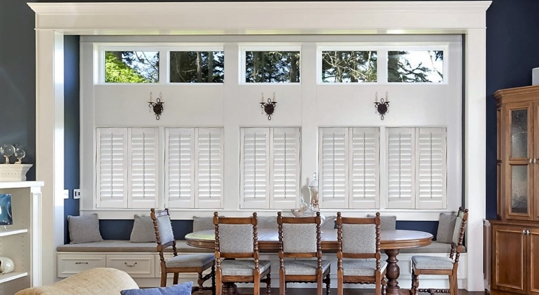 Boston dining room with white plantation shutters.