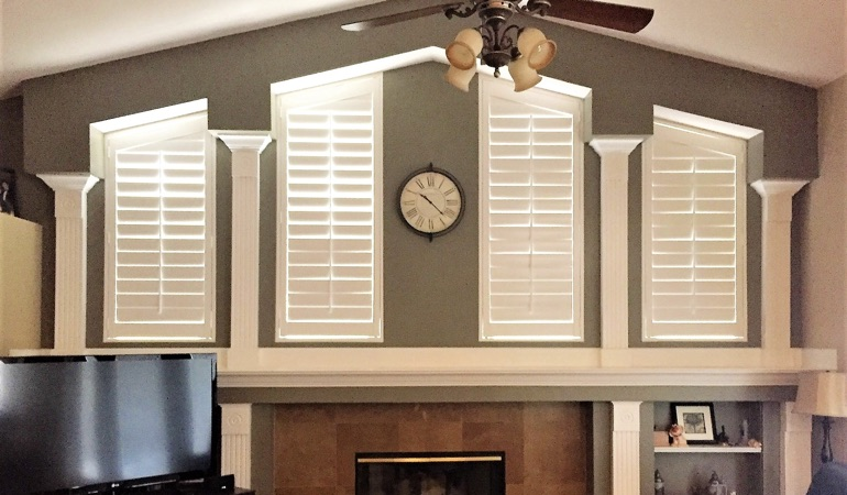 Polywood Shutters in Family Room in Boston