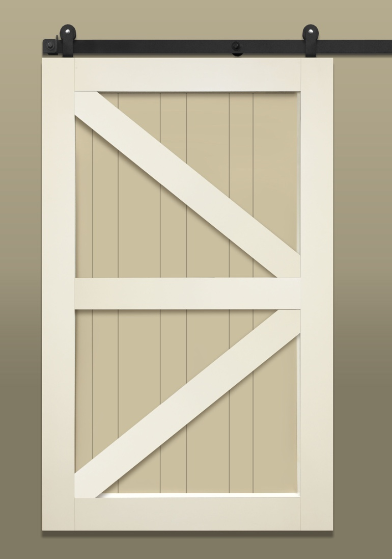 Light colored stile & rail sliding barn door with British brace