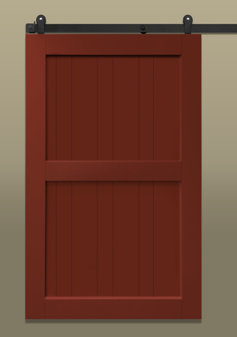 Midbar Stile & rail sliding barn door painted red
