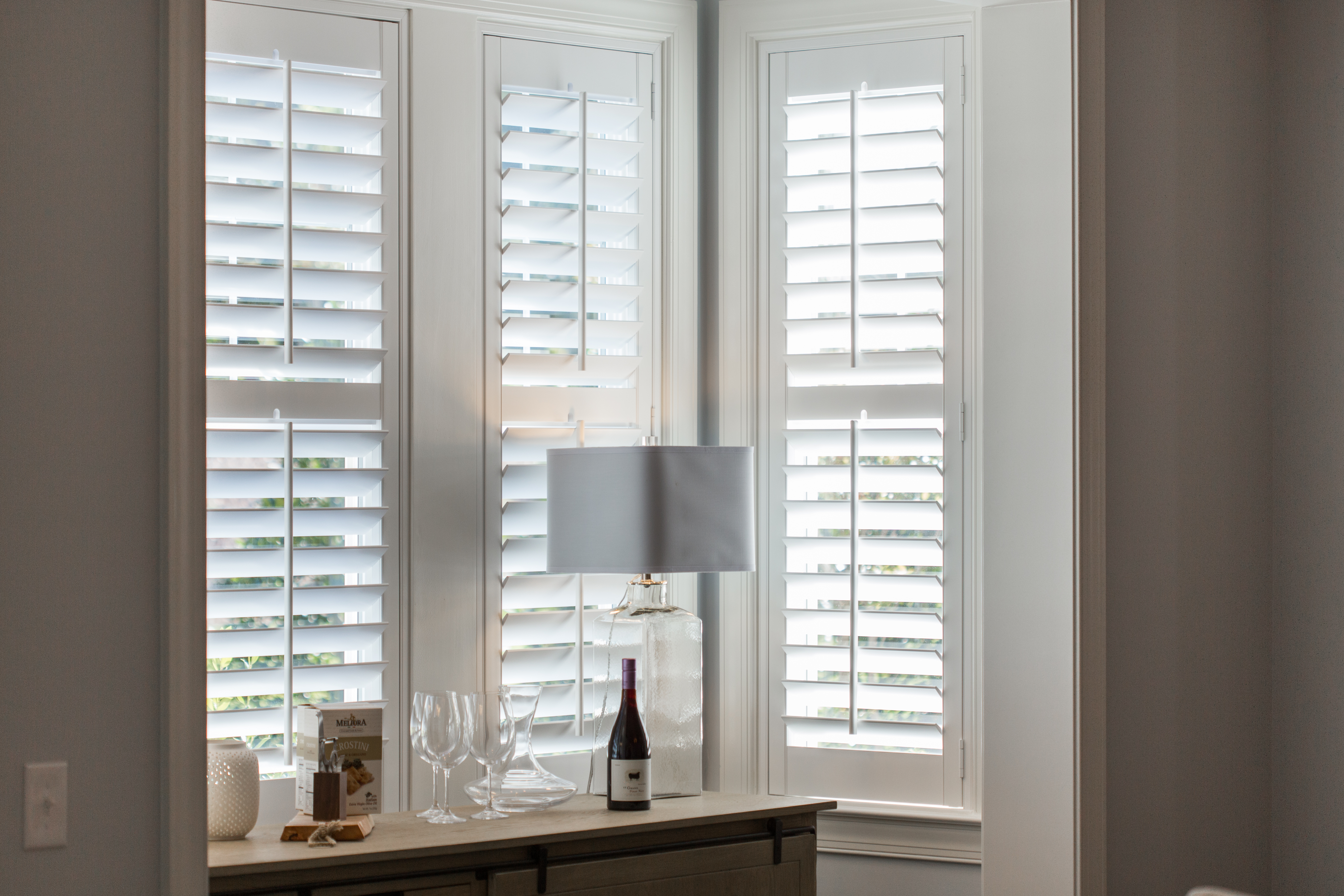 Plantation shutters in Boston alcove.
