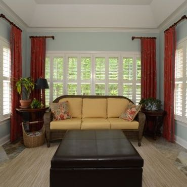Boston sunroom interior shutters.