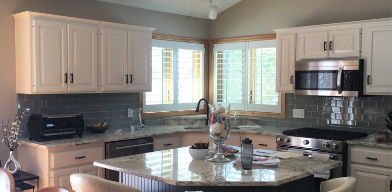 Boston kitchen with shutters and appliances