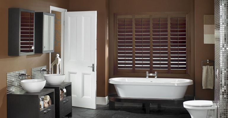 Boston bathroom shutters wood stain