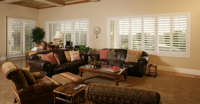 Boston basement with french door shutters.
