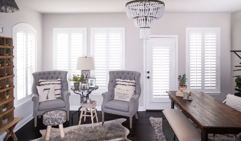 Plantation shutters in a Boston living room