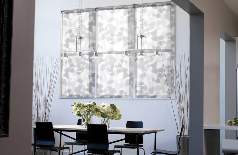 Patterned gray shades in contemporary dining room