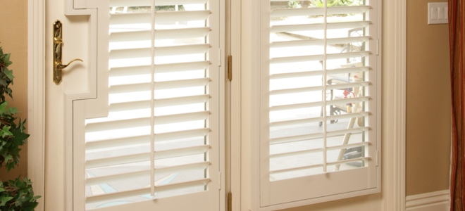 French door shutters with cutout