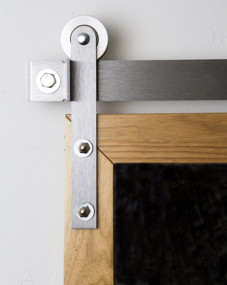 Metal mini modern hanger on barn door