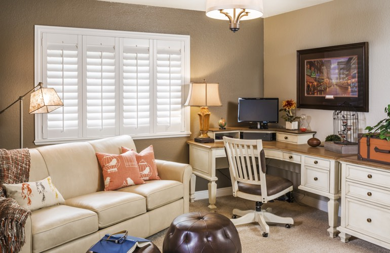 Boston home office with plantation window shutters.