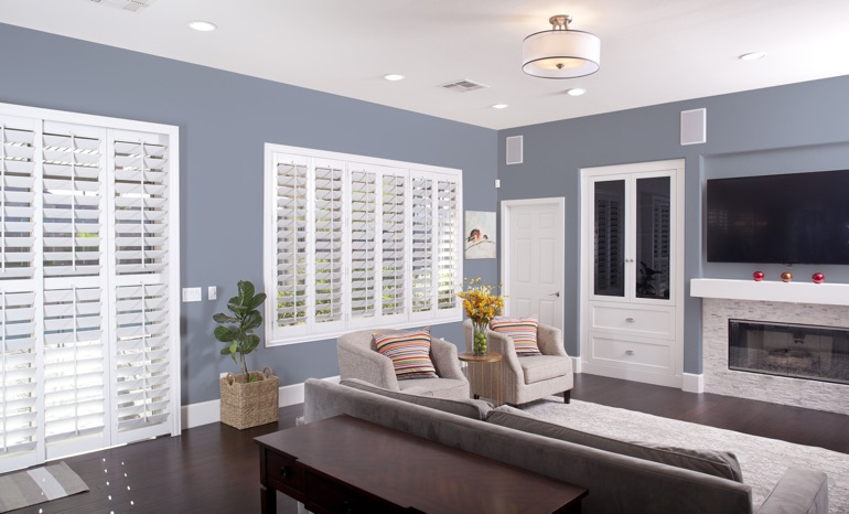 Plantation Shutters In A Boston Living Room.