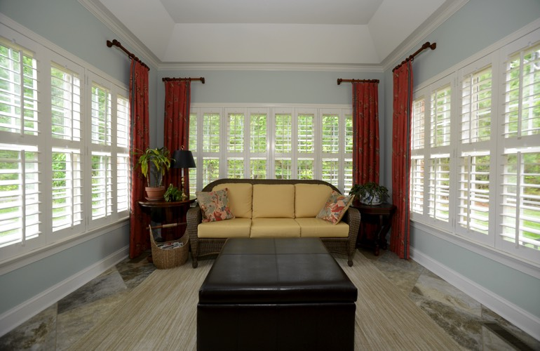 Plantation Shutters In A Boston Sunroom